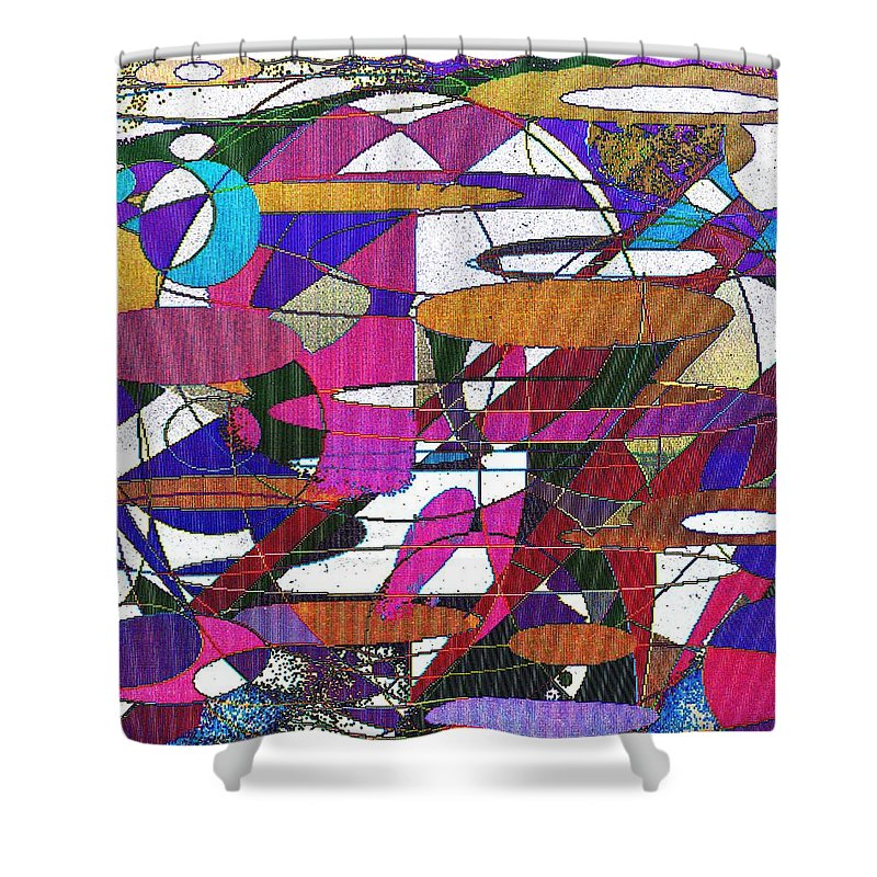 Abstract Shower Curtain featuring the digital art Intergalatic by Ian MacDonald
