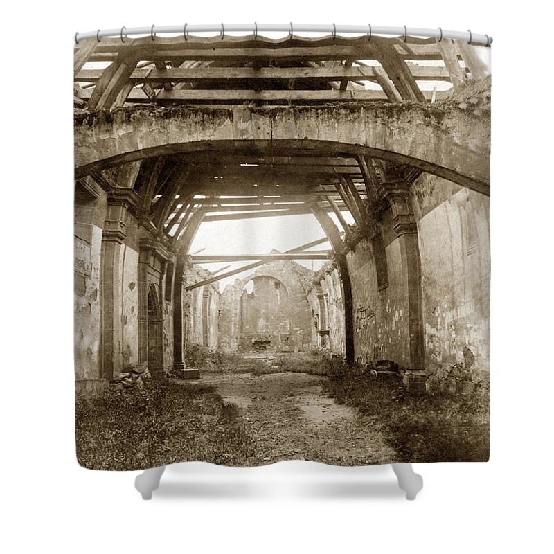 Interior Shower Curtain featuring the photograph Interior Of Carmel Mission Looking Towards The Altar. Circa 1880 by California Views Archives Mr Pat Hathaway Archives