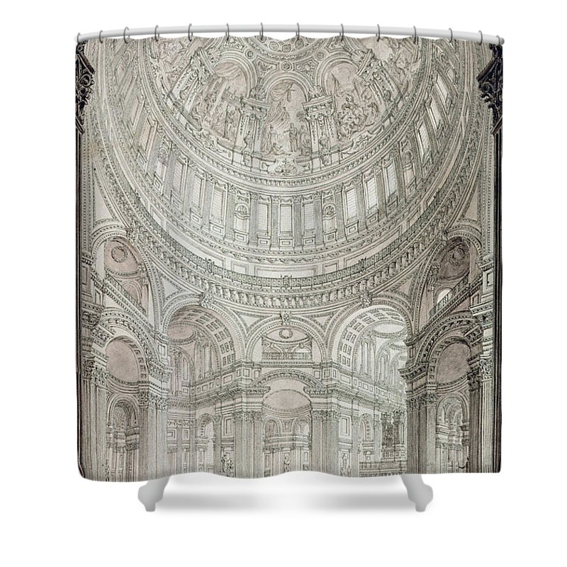 Religious Architecture Drawings Shower Curtains