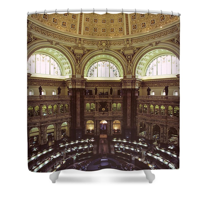 Elevated Views Shower Curtain featuring the photograph Interior Of The Library Of Congress by Kenneth Garrett