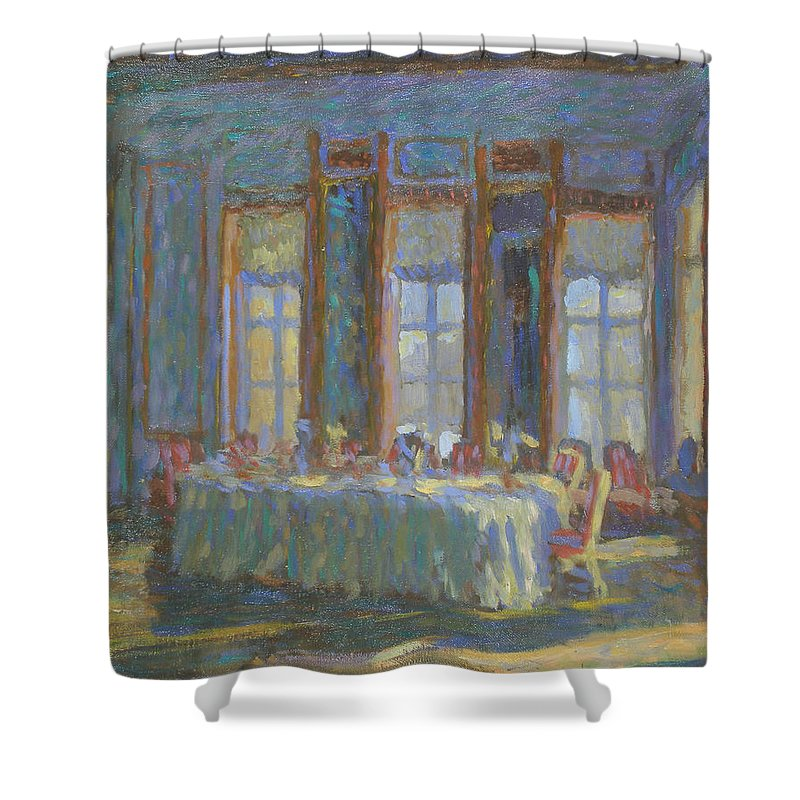 Moscow Shower Curtain featuring the painting Interior by Robert Nizamov