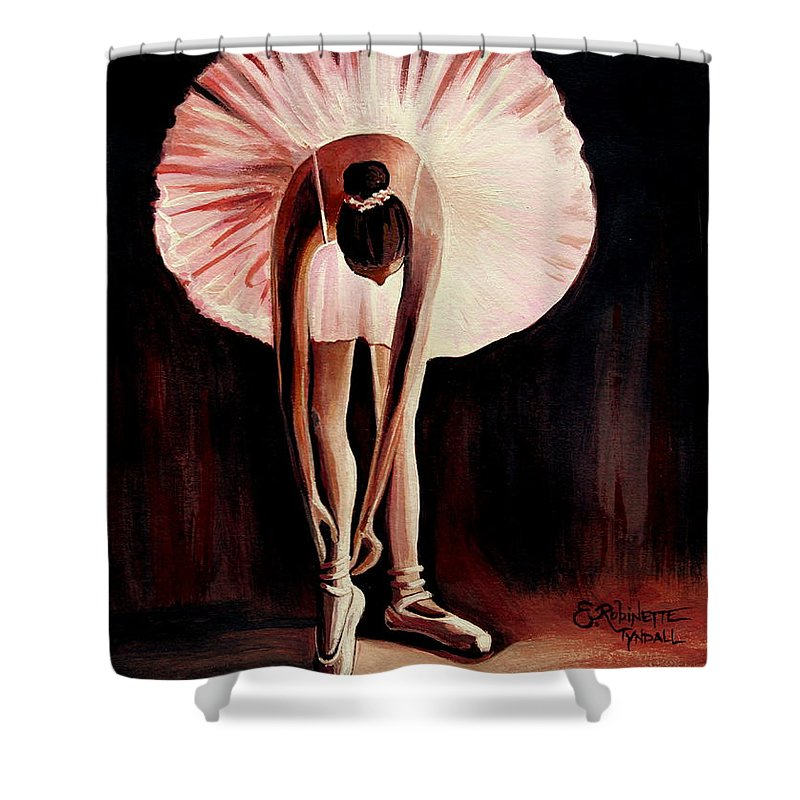 Ballerina Shower Curtain featuring the painting Interlude by Elizabeth Robinette Tyndall