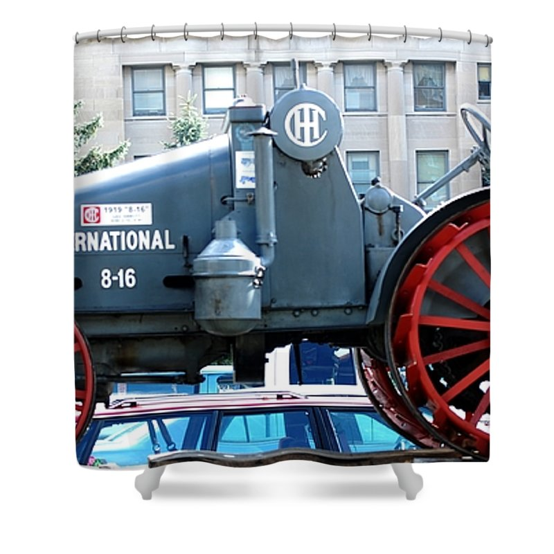 Tractor Shower Curtain featuring the digital art International 8-16 by David Lane