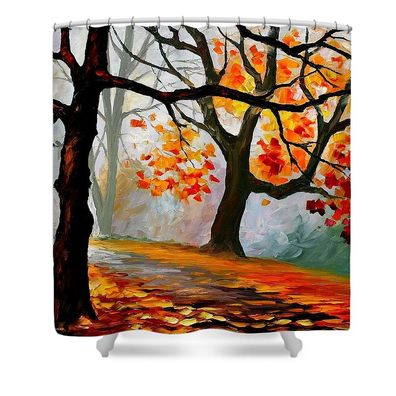 Landscape Shower Curtain featuring the painting Interplacement by Leonid Afremov