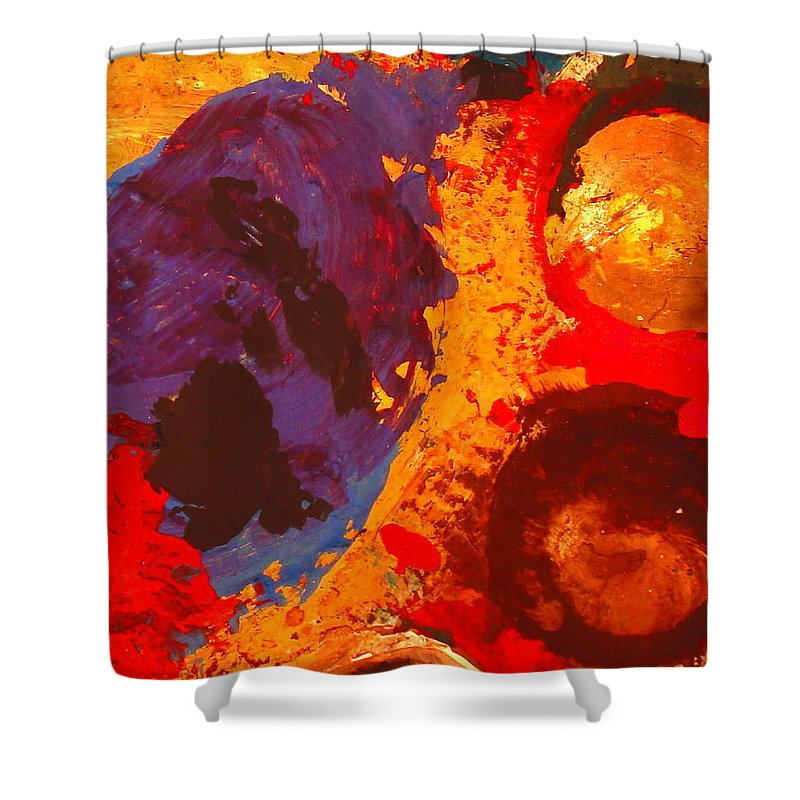 Abstract Shower Curtain featuring the painting Interplanetary Encounter by Natalie Holland