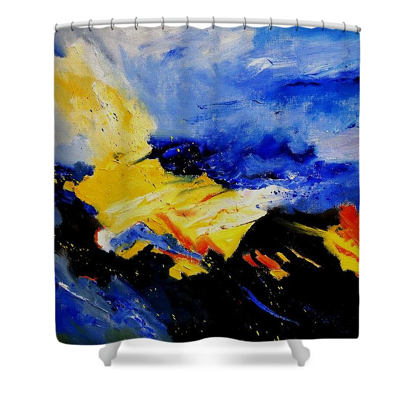 Abstract Shower Curtain featuring the painting Interstellar Overdrive 2 by Pol Ledent