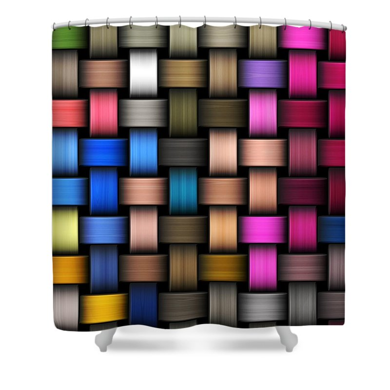 Rattan Shower Curtain featuring the digital art Intertwined Abstract Background by Hamik ArtS