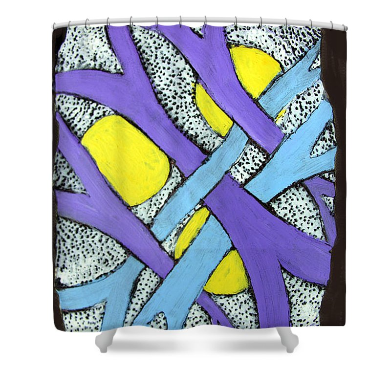 Abstract Shower Curtain featuring the painting Intertwined by Wayne Potrafka