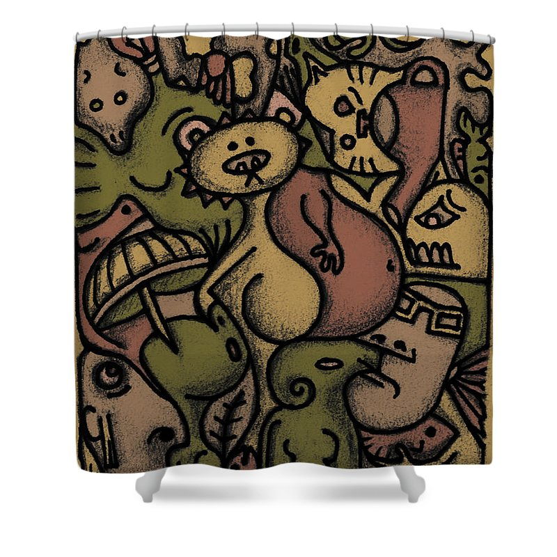 Kaki Shower Curtain featuring the digital art Interwhining1 by Kelly Jade King
