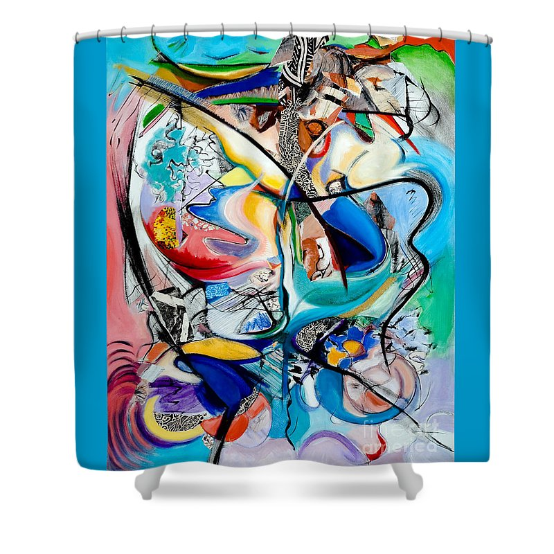 Abstract Shower Curtain featuring the painting Intimate Glimpses - Journey Of Life by Kerryn Madsen-Pietsch