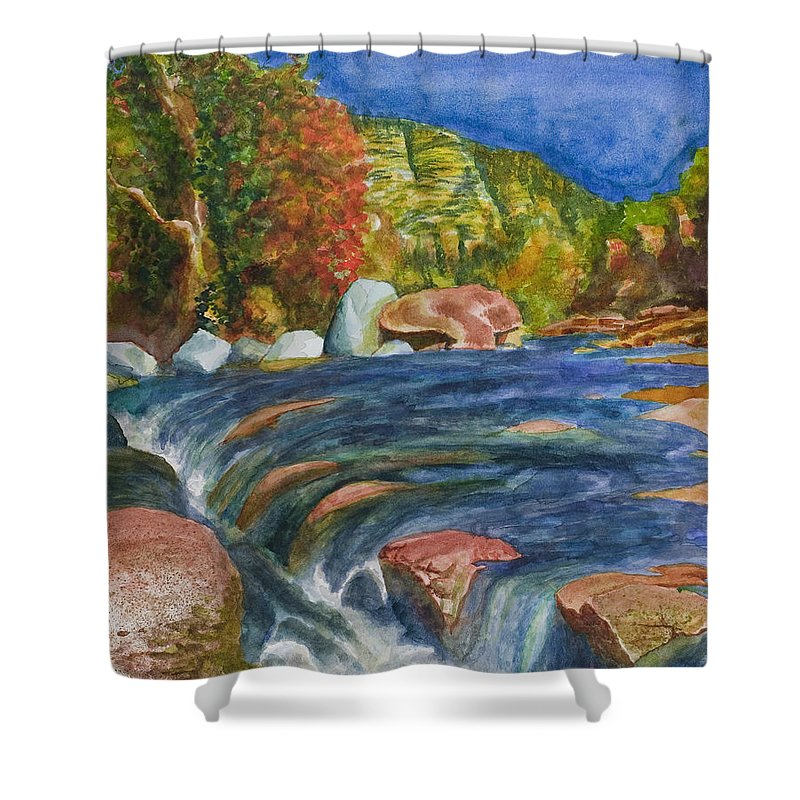 Oak Creek Shower Curtain featuring the painting Into Slide Rock by Eric Samuelson