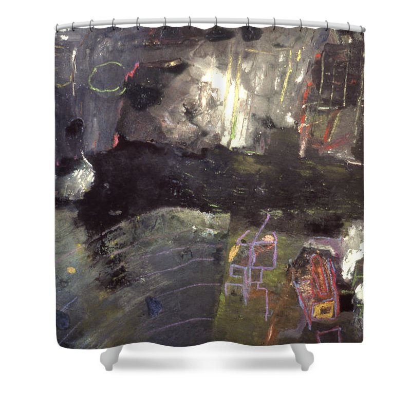 Mixed Media On Paper Shower Curtain featuring the painting Into The Caves by Richard Baron