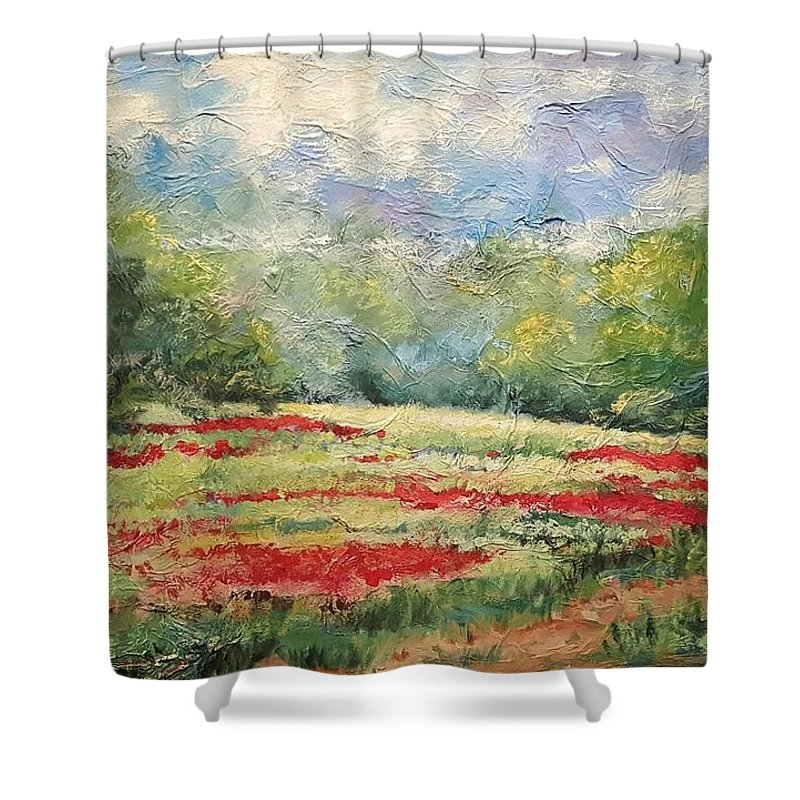 Clover Pastures Shower Curtain featuring the painting Into the Clover by Ginger Concepcion