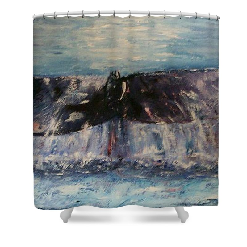 Seascape Shower Curtain featuring the painting Into The Deep by Stephen King