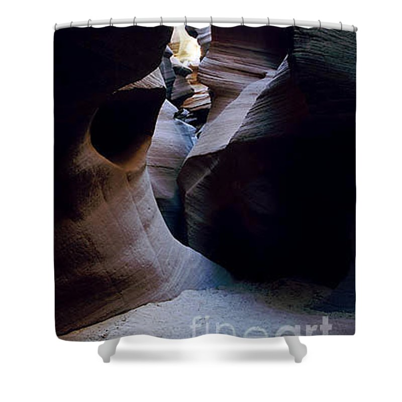 Slot Canyons Shower Curtain featuring the photograph Into The Depths by Kathy McClure