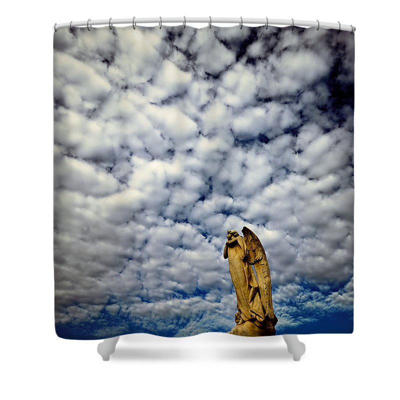 Angel Shower Curtain featuring the photograph Into The Firmanent by Wayne Sherriff