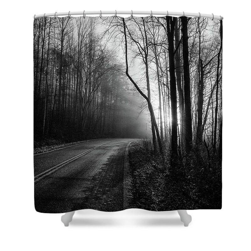 Bw Photography Shower Curtain featuring the photograph Into The Light by Chilehead Photography