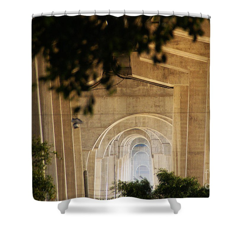 Bridge Shower Curtain featuring the photograph Into The Light by Linda Shafer