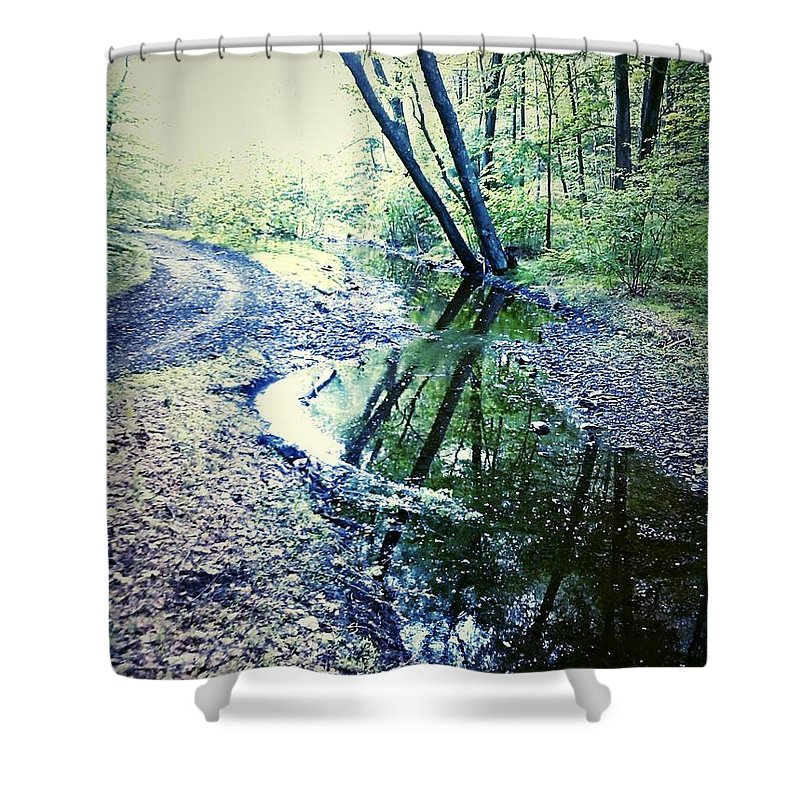 Woods Shower Curtain featuring the photograph Into The Nothing by Amy-Elizabeth Toomey