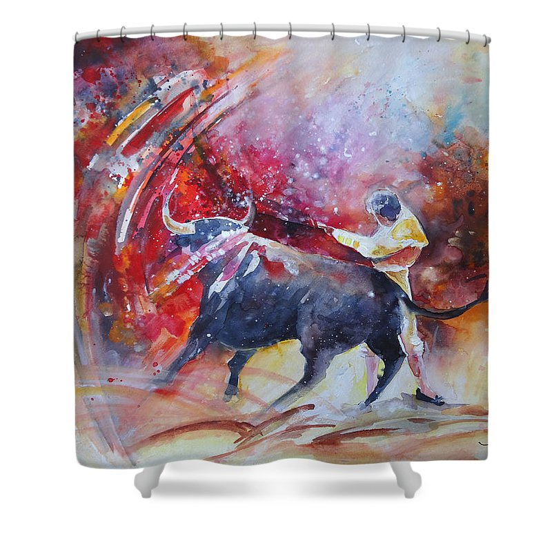 Animals Shower Curtain featuring the painting Into The Red by Miki De Goodaboom