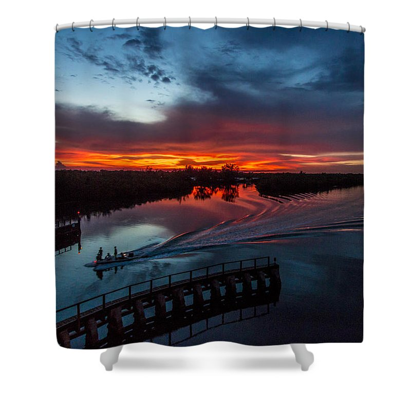 Sunset Shower Curtain featuring the photograph Intracoastal Sunset by Joshua Powell
