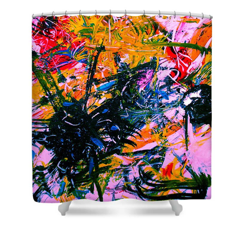 Abstract Shower Curtain featuring the painting Intrigue by Natalie Holland