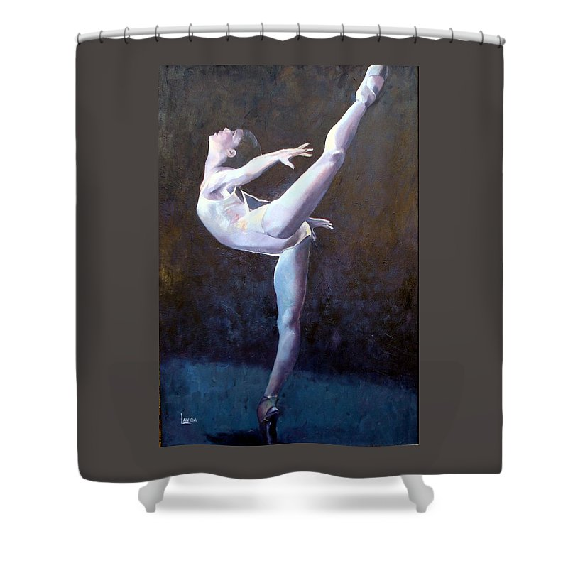 Ballerina Shower Curtain featuring the painting Introduction by Janet Lavida