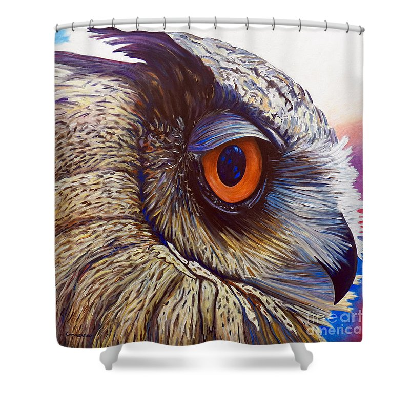 Owl Shower Curtain featuring the painting Introspection by Brian Commerford