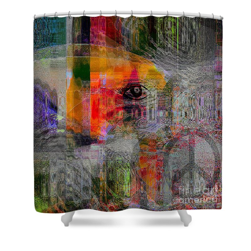 Fania Simon Shower Curtain featuring the mixed media Intuitional Abstract by Fania Simon