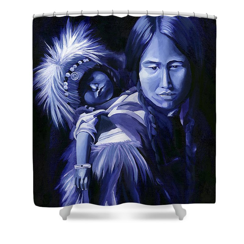 Native American Shower Curtain featuring the painting Inuit Mother And Child by Nancy Griswold