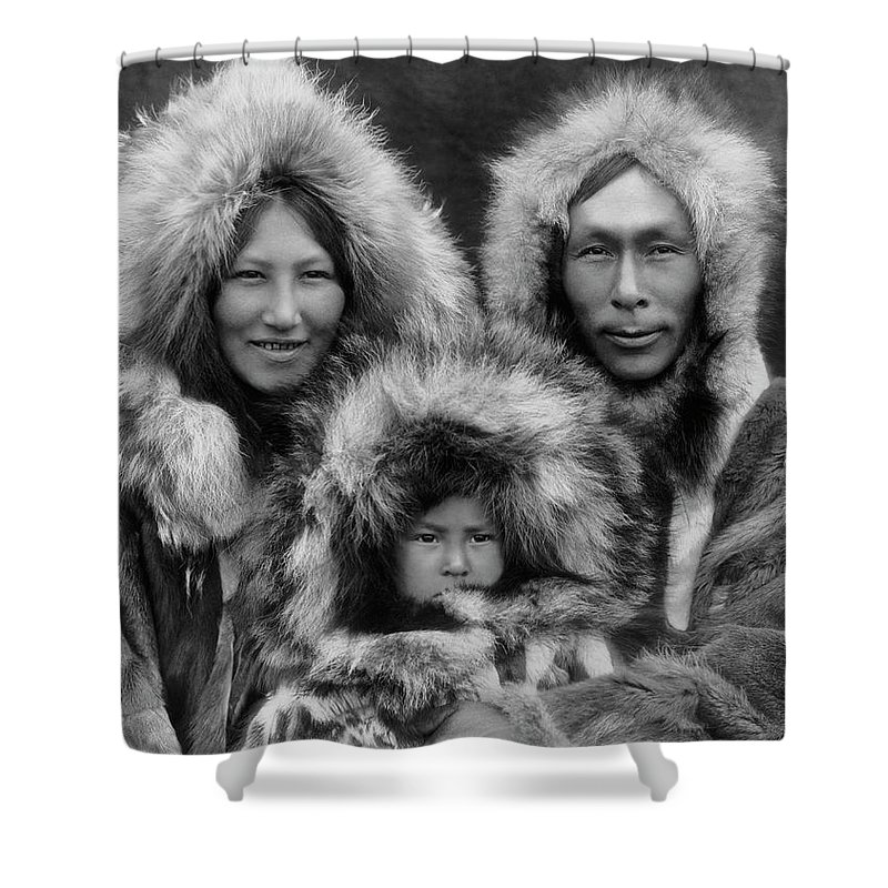 Inupiat Shower Curtain featuring the photograph Inupiat Family Portrait - Alaska 1929 by War Is Hell Store
