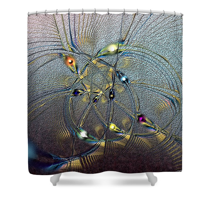 Abstract Shower Curtain featuring the digital art Inviolate Relativism by Casey Kotas