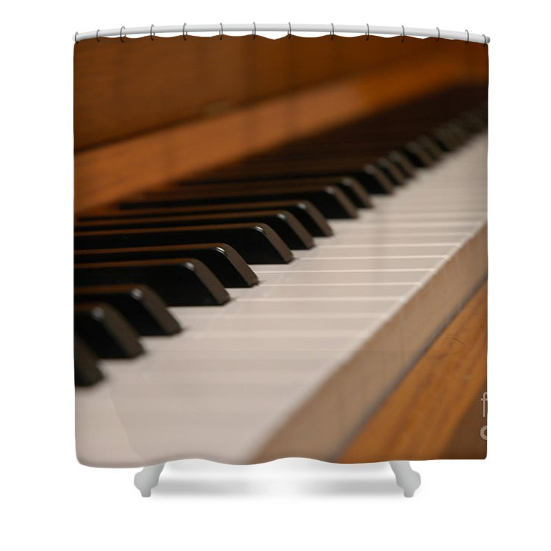 Instrument Shower Curtain featuring the photograph Invisible Pianist by Theo Tucker