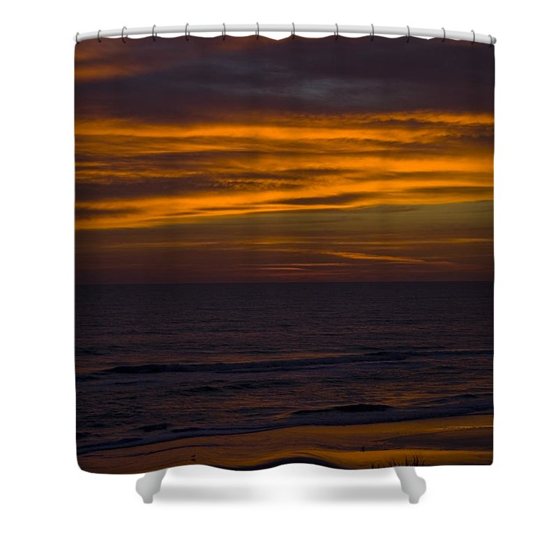Beach Ocean Water Wave Waves Sky Cloud Clouds Sunrise Gold Golden Reflection Sand Shower Curtain featuring the photograph Invisible Presence by Andrei Shliakhau