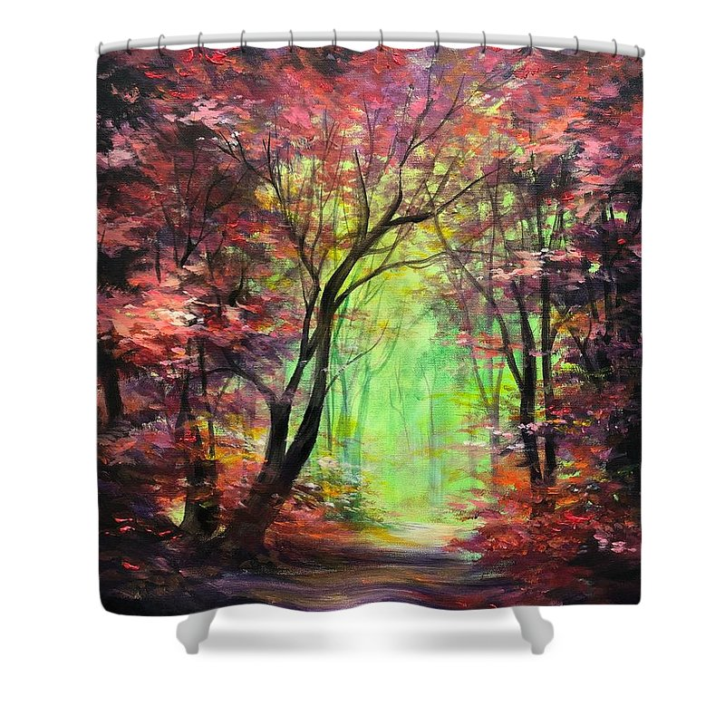 Forest Shower Curtain featuring the painting Invitation by Vesna Delevska