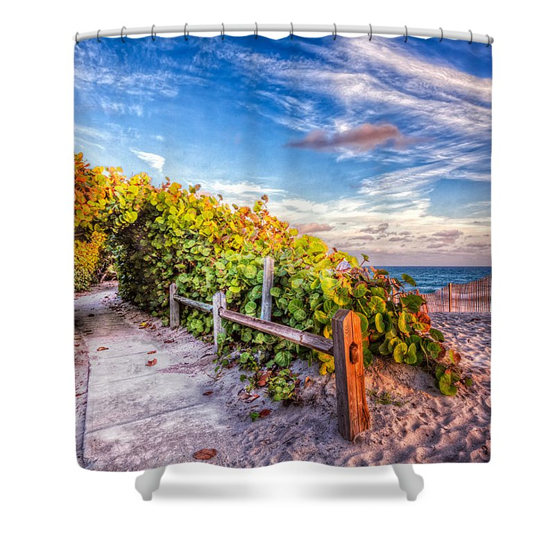 Clouds Shower Curtain featuring the photograph Inviting Path by Debra and Dave Vanderlaan