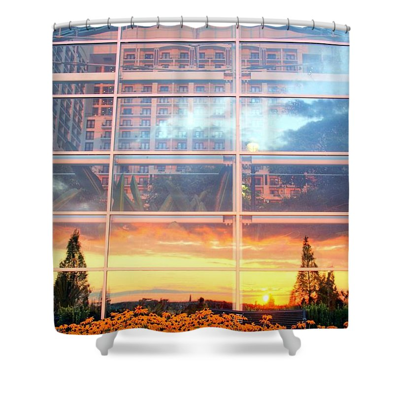 Architecture Shower Curtain featuring the photograph Involved With The World by Mitch Cat