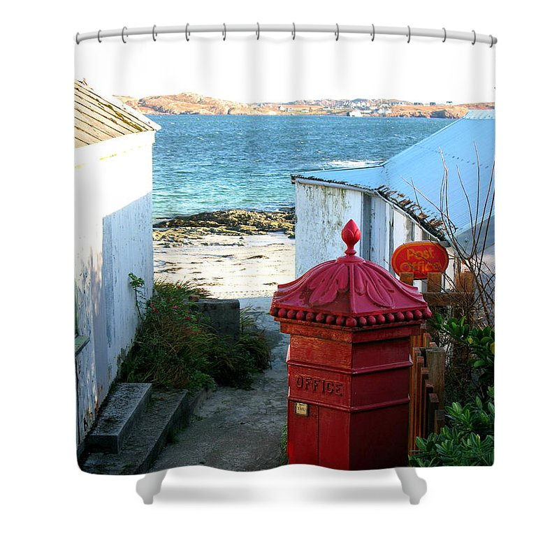 Iona Shower Curtain featuring the photograph Iona Post Office by Maria Joy