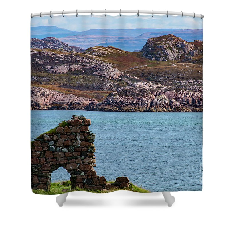 Isle Of Iona Ruins Shower Curtain featuring the photograph Iona Ruins And Mull Hills by Bob Phillips