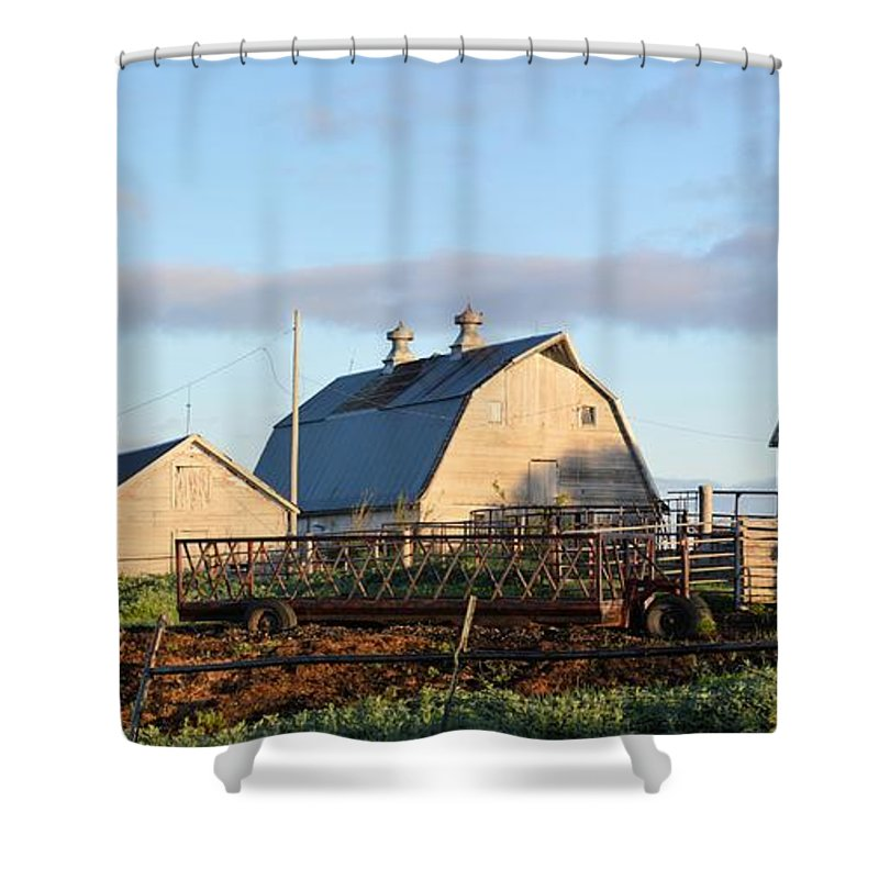Farm Shower Curtain Featuring The Photograph Iowa Scene By Bonfire Photography