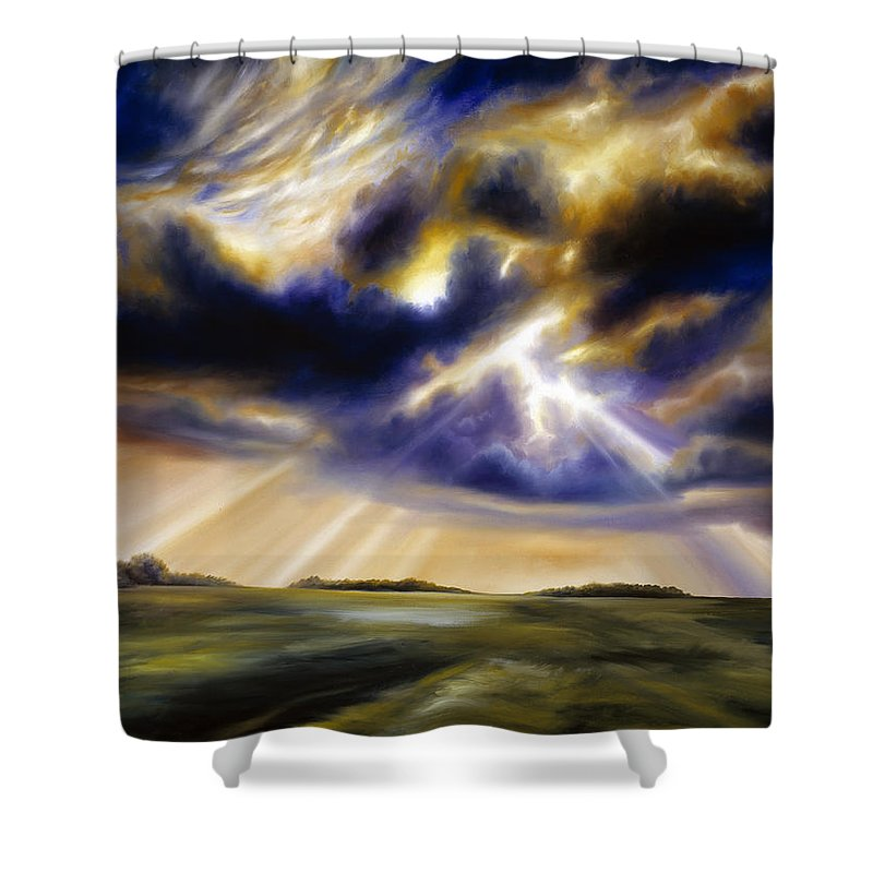 Sunrise; Sunset; Power; Glory; Cloudscape; Skyscape; Purple; Red; Blue; Stunning; Landscape; James C. Hill; James Christopher Hill; Jameshillgallery.com; Ocean; Lakes; Storms; Lightning; Rain; Rays; God Shower Curtain featuring the painting Iowa Storms by James Christopher Hill