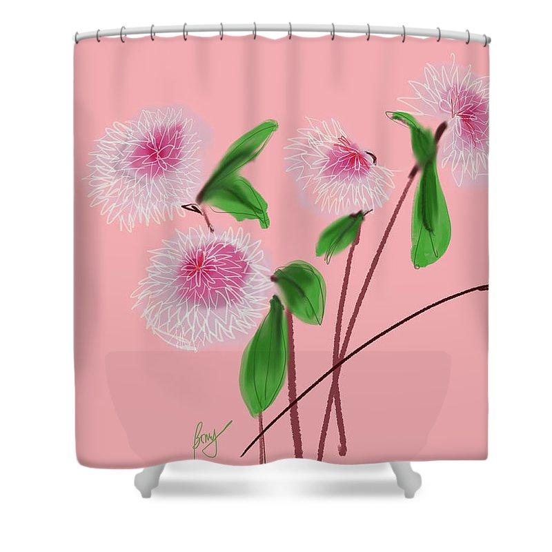 Floral Shower Curtain featuring the digital art Dear Dahlia's by Bonny Butler