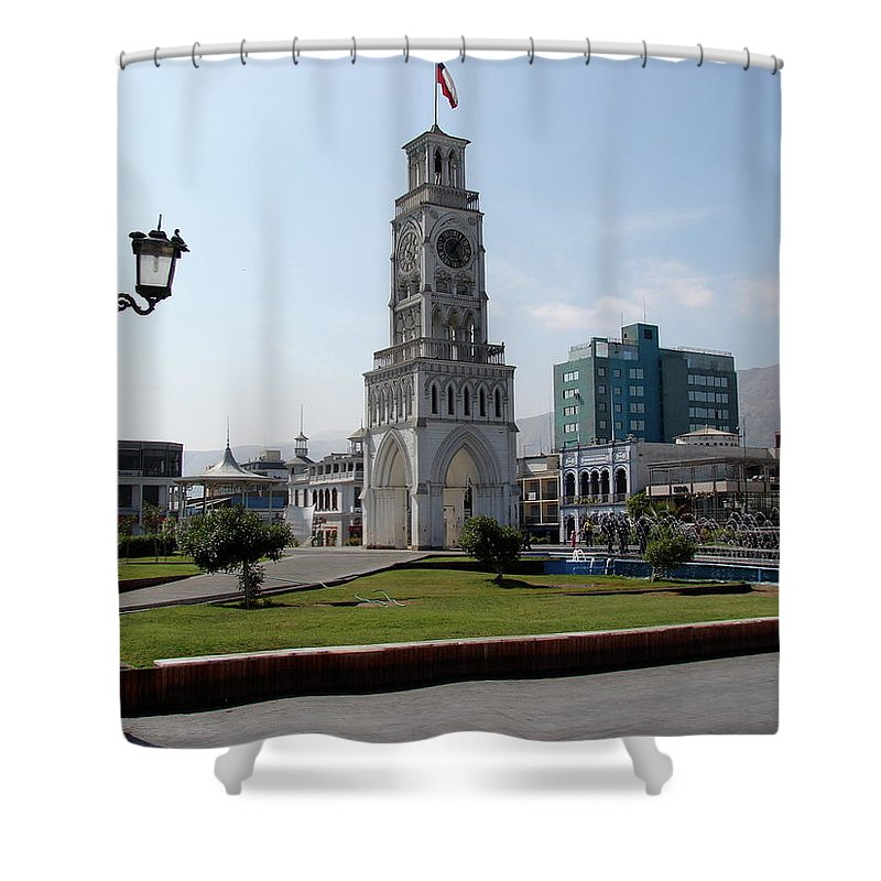 Iquique Shower Curtain featuring the photograph Iquique Chile Plaza by Brett Winn