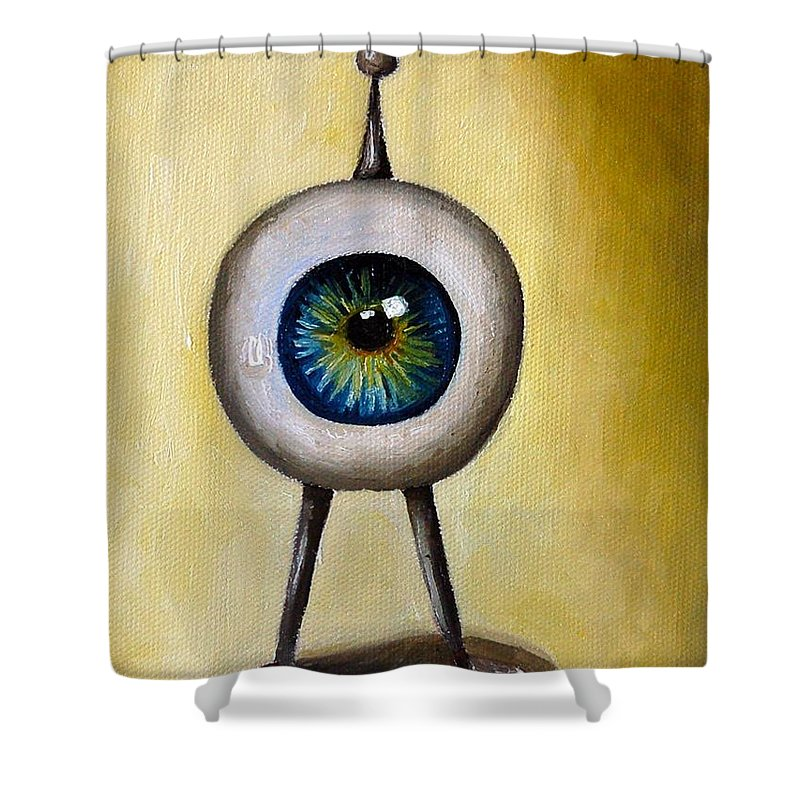 Eye Shower Curtain featuring the painting Ira The Little Alien by Leah Saulnier The Painting Maniac