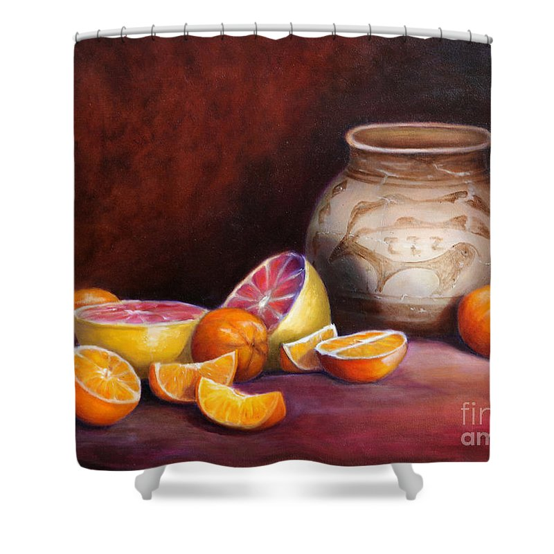 Still Life Paintings Shower Curtain featuring the painting Iranian Still Life by Portraits By NC