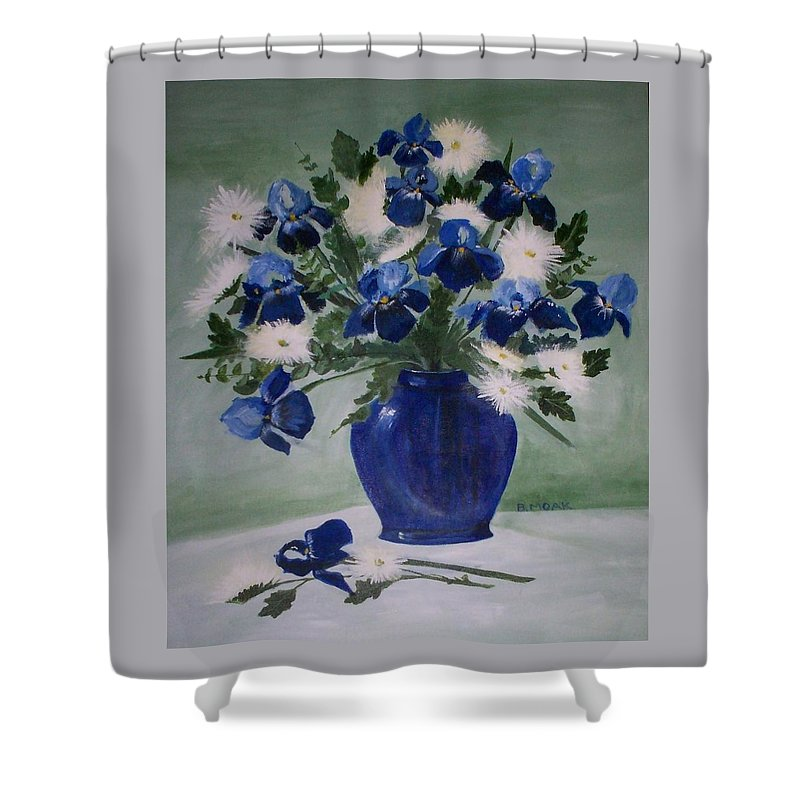 Barbara Moak Shower Curtain featuring the painting Iris And Mums by Barbara Moak