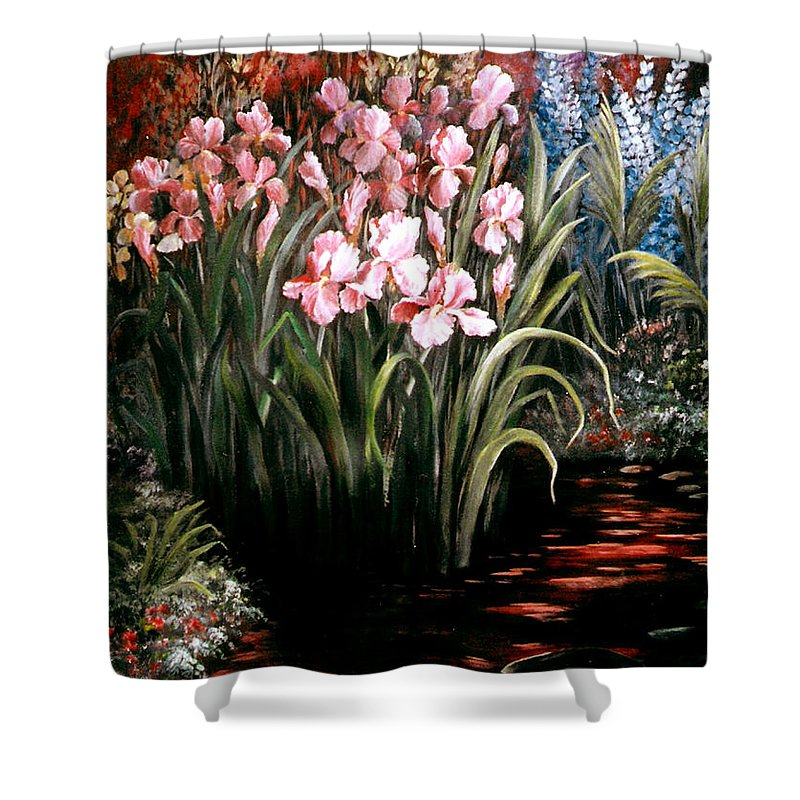 Floral Shower Curtain featuring the painting Iris By The Pond by Patricia Rachidi
