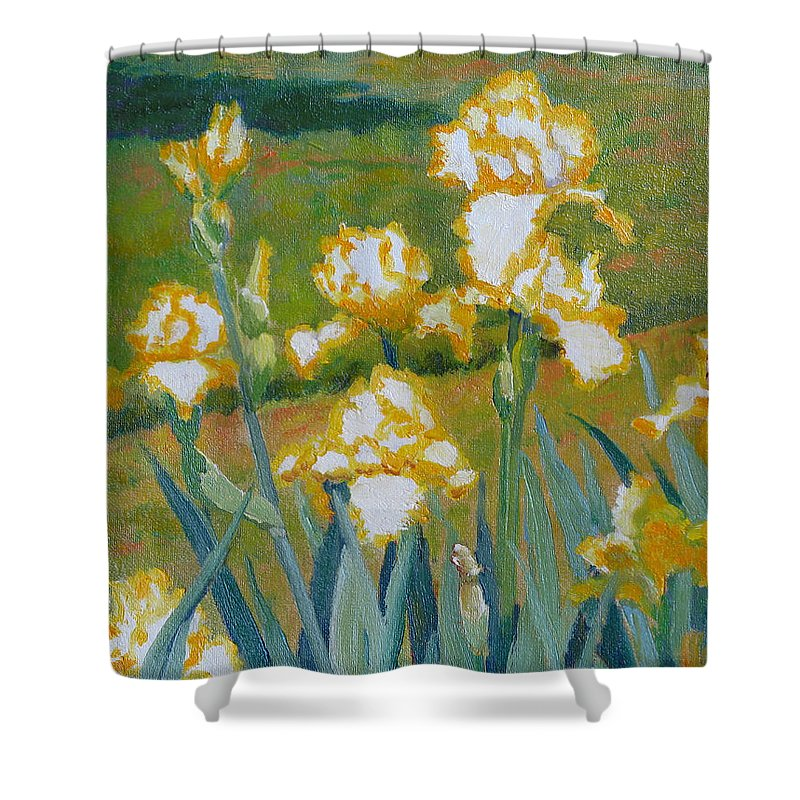 Impressionism Shower Curtain featuring the painting Iris Etude by Keith Burgess
