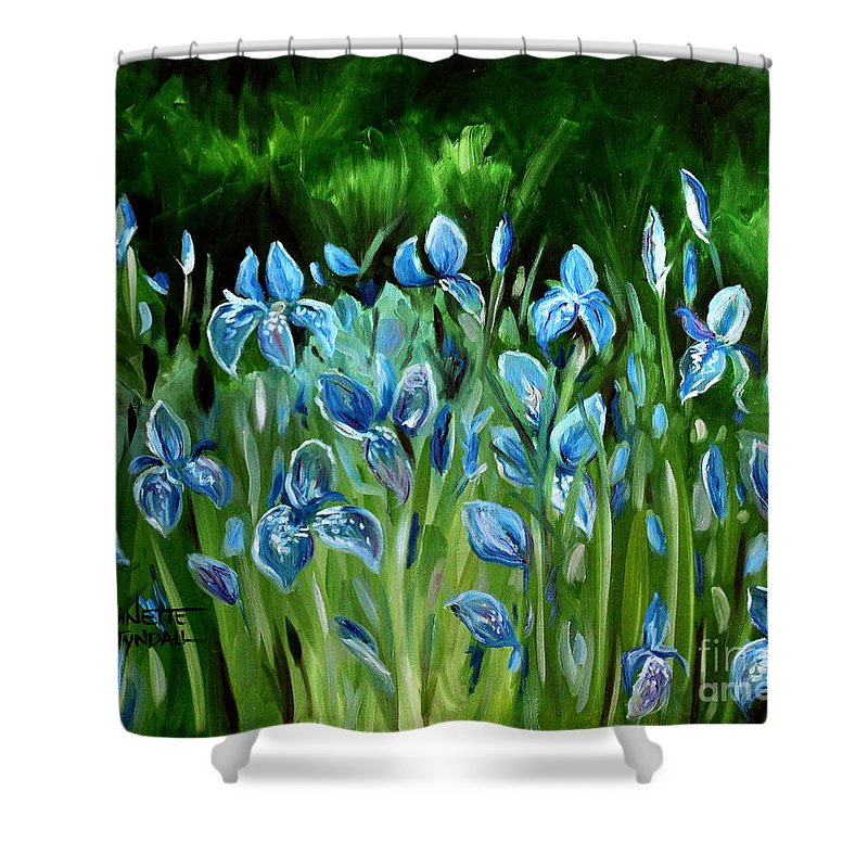 Flowers Shower Curtain featuring the painting Iris Galore by Elizabeth Robinette Tyndall