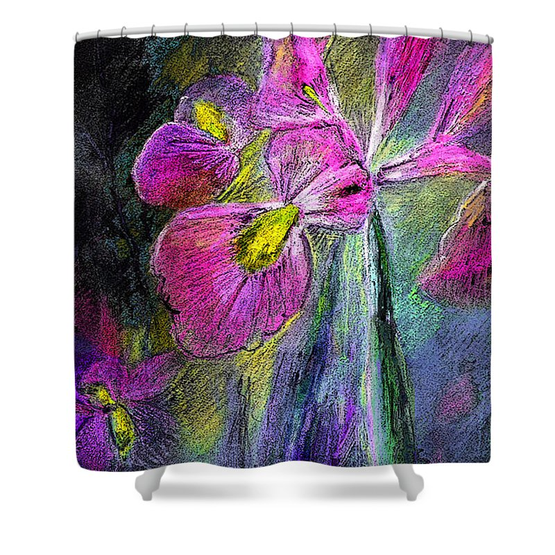 Iris Shower Curtain featuring the painting Iris In The Night by Miki De Goodaboom